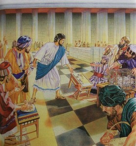 Jesus throws out the money changers